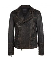 AllSaints | Black Cargo Leather Biker Jacket for Men | Lyst