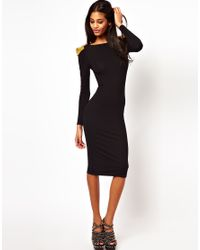 ASOS Collection | Black Bodycon Dress with Stud Detail | Lyst