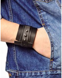 ASOS - Black Leather Cuff for Men - Lyst