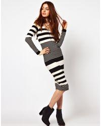 ASOS | Gray Midi Bodycon Dress in Graduated Stripe Print | Lyst