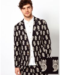 ASOS | Black Slim Fit Blazer in Paisley for Men | Lyst
