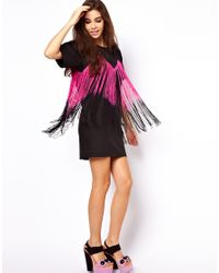 ASOS - Black Tee Dress with Fringing - Lyst