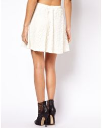 ASOS | White Skater Skirt in Floral Lace | Lyst