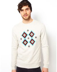 ASOS | Natural Sweatshirt with Aztec Embroidery for Men | Lyst
