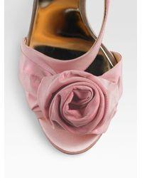 Badgley Mischka - Pink Satin Rosette Lanah Slingbacksrose - Lyst