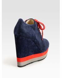 Boutique 9 - Blue Sporty Suede Colorblock Wedge Ankle Boots - Lyst
