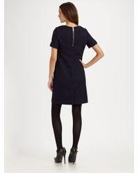 Burberry Brit | Blue Wool Twill Shift Dress | Lyst