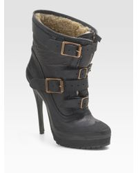 Burberry Prorsum | Black Shearling-lined Platform Ankle Boots | Lyst