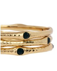 French Connection - Metallic Beaten Bangle Stack - Lyst