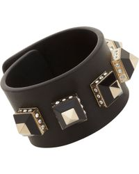 Givenchy - Black Leather Cuff with Gold Crystal Pyramid Studs - Lyst