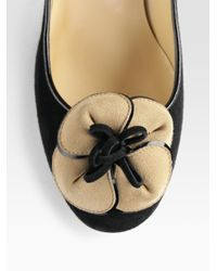 kate spade new york - Black Montana Suede Flower Pumps - Lyst