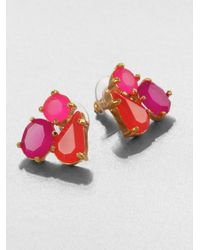 kate spade new york | Pink Threestone Cluster Earrings | Lyst