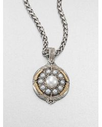 Konstantino - Metallic Cultured Pearl Sterling Silver and 18k Yellow Gold Enhancer - Lyst