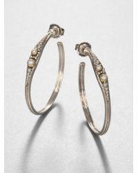 Konstantino | Metallic Sterling Silver Disc Hoop Earrings | Lyst