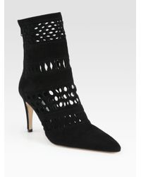 Manolo Blahnik | Black Suede Cutout Ankle Boots | Lyst