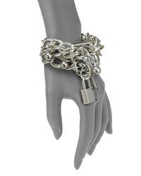 Boutique Moschino - Metallic Triple Strand Lock Key Bracelet - Lyst