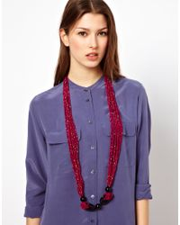 ASOS - Pink Nali Statement Multi Bead Necklace - Lyst