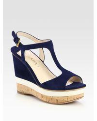 Prada - Blue Suede T-Strap Wedge Sandals - Lyst