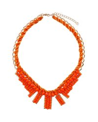 TOPSHOP - Orange Velvet Bead Stick Collar - Lyst