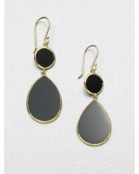 Ippolita | Polished Rock Candy Black Onyx & 18k Yellow Gold Snowman Drop Earrings | Lyst