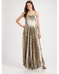 Just Cavalli | White Silk Pleated Leopard-print Gown | Lyst