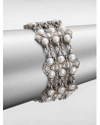 Konstantino | White Cultured Pearl and Sterling Silver 3row Bracelet | Lyst