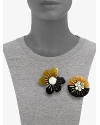 Marni | Multicolor Crystal Floral Brooch Set | Lyst