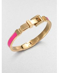 Michael Kors | Pink Enamel Goldtone Steel Buckle Bangle | Lyst