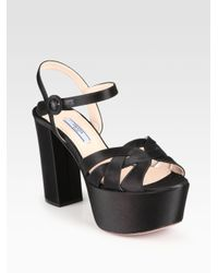 ef280d1494fc Lyst - Prada Satin Platform Sandals in Black
