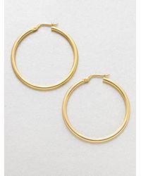 Roberto Coin | Metallic 18k Yellow Gold Hoop Earrings/1.4 | Lyst