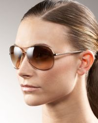Tom Ford | Metallic Charles Aviator Sunglasses | Lyst