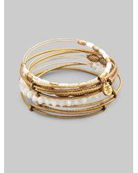 ALEX AND ANI | Metallic Motherofpearl Bangle Bracelet Set | Lyst
