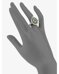 Judith Ripka - White Sapphire Green Quartz Sterling Silver Ring - Lyst