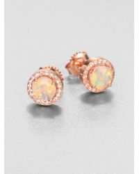 KALAN by Suzanne Kalan   Pink Opal & White Sapphire 14k Rose Gold Earrings   Lyst