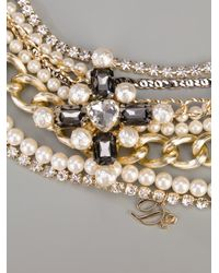 DSquared² - White Embellished Pearl Logo Necklace - Lyst