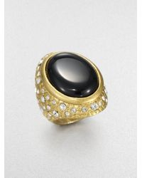 ABS By Allen Schwartz | Metallic Textured Cabochon Ring | Lyst