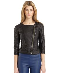 Catherine Malandrino | Black Leather Stud Detail Jacket | Lyst