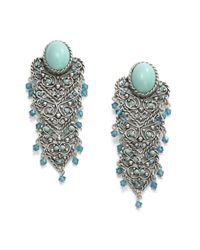 Clara Kasavina | Blue Cabochon Filigree Chandelier Earrings | Lyst