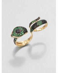 John Hardy   Green Semiprecious Multistone 18k Gold Cobra Twofinger Ringblack Spinel   Lyst