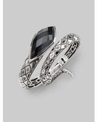 Stephen Webster - Metallic Grey Cats Eye Crystal Haze Sterling Silver Snake Bracelet - Lyst