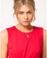 Ted Baker - Green Turtle Pendant Necklace - Lyst