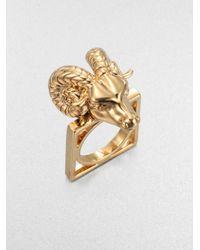 Tory Burch | Metallic 16k Goldplated Ram Head Ring | Lyst