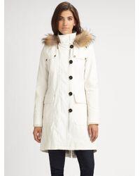 HUNTER - White Fur Trimmed Parka - Lyst
