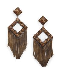 Joanna Laura Constantine | Brown Pavé Pyramid Stud Fringe Earrings | Lyst