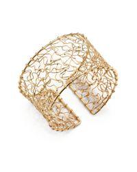 Nunu - Metallic 18k Gold Vermeil Abstract Wire Cuff Bracelet - Lyst