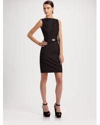 Prada | Black Sleeveless Sheath Dress | Lyst
