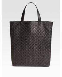 Comme des Garçons | Black Large Clover Embossed Leather Tote | Lyst