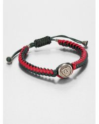 Gucci | Red Woven Leather Bracelet for Men | Lyst