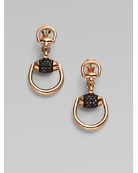 Gucci | Metallic Horsebit Black Diamond & 18k Rose Gold Drop Earrings | Lyst