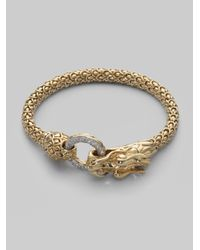 John Hardy | Metallic Diamond & 18k Gold Dragon Bracelet | Lyst